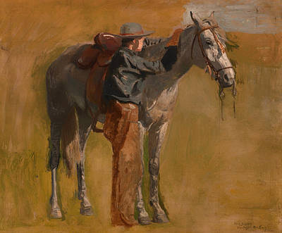 Badlands Painting - Study For Cowboys In The Badlands by Mountain Dreams