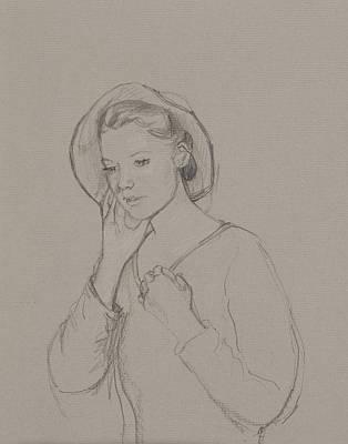 Jane Austen Drawing - Study For Elizabeth Bennet by Caroline Hervey Bathurst