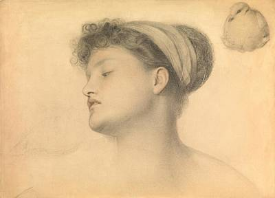 Dove Drawing - Study For Girl With Doves by Anthony Frederick Augustus Sandys