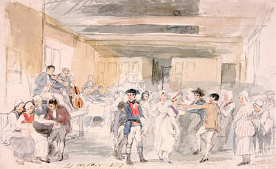 Violin Drawing - Study For Penny Wedding, 1817 by Sir David Wilkie