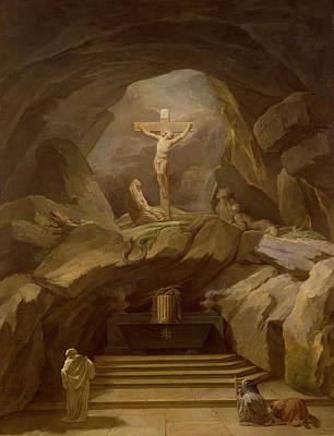Cavern Painting - Study For The Chapelle Du Calvaire In The Eglise De Saint-roch Oil On Canvas by Nicolas-Bernard Lepicie