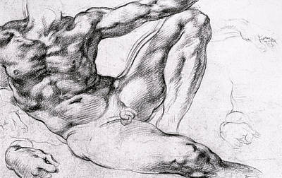 Male Nude Drawing Drawing - Study For The Creation Of Adam by Michelangelo