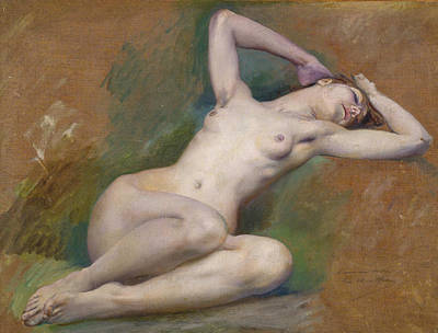 Luc-olivier Merson Painting - Study For The Figure Of Spring by Luc-Olivier Merson