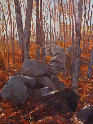 Reds Of Autumn Painting - Study In Reds And Grays by Shawn Shea