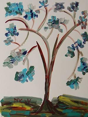 Study Of A Blue Tree Print by Mary Carol Williams
