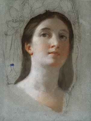 Anton Raphael Mengs Drawing - Study Of A Female Head by Anton Raphael Mengs