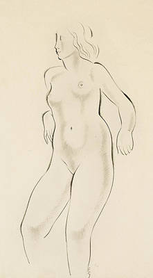 Leaning Drawing - Study Of A Female Nude by Eric Gill