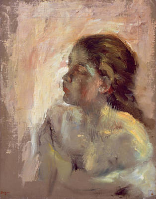 Loose Painting - Study Of A Girls Head, Late 1870s by Edgar Degas
