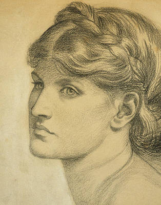 Wistful Drawing - Study Of A Head For The Bower Meadow by Dante Charles Gabriel Rossetti