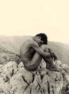 Black And White Photograph - Study Of A Male Nude On A Rock In Taormina Sicily by Wilhelm von Gloeden