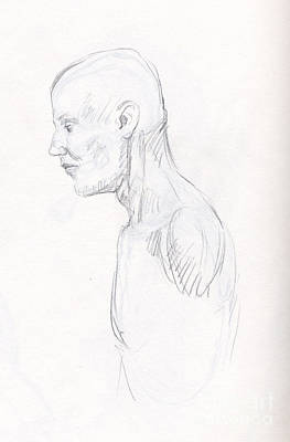 Whistler Drawing - Study Of A Man In Silverpoint After Da Vinci by Whistler Kenworthy