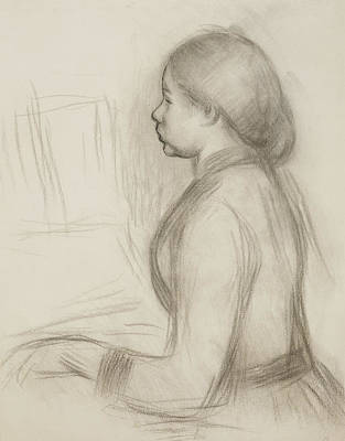 Impressionism Drawing - Study Of A Young Girl At The Piano by Pierre Auguste Renoir