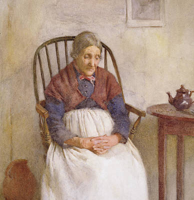 Aging Painting - Study Of An Elderly Lady by Frederick James McNamara Evans