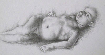 Study Of Caravaggio's Cupid Print by Lisa Marie Szkolnik
