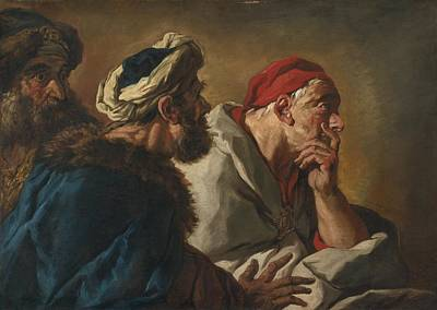 De Troy Painting - Study Of Three Figures by Celestial Images