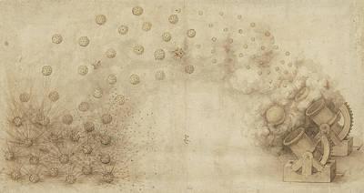 Da Vinci Reproductions Drawing - Study Of Two Mortars For Throwing Explosive Bombs From Atlantic Codex by Leonardo Da Vinci