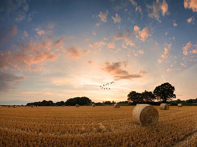 Stunning Summer Landscape Of Hay Bales In Field At Sunset Digital Painting Print by Matthew Gibson