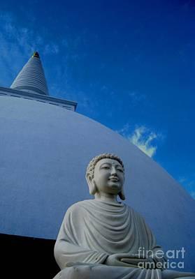 Buddha Photograph - Stupa And Buddha Statue-anuradhapura by Surendra Silva