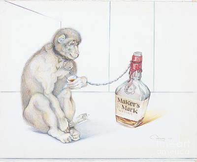 Carlos Ruiz Drawing - Stupid Monkey by Carlos Ruiz