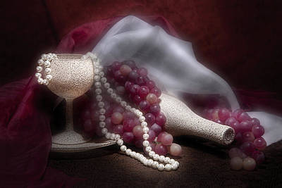 Necklace Photograph - Stylish Wine Still Life by Tom Mc Nemar