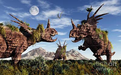 Anger Digital Art - Styracosaurus Dinosaur Sculptures by Mark Stevenson