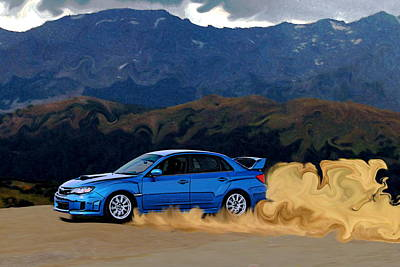 Subaru Wrx Sti Drifting In The Dirt Print by Erin Hissong