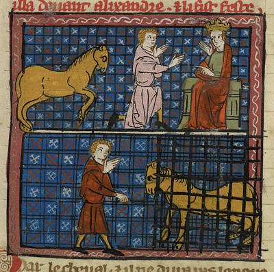 Cage Photograph - Subject Kneeling To Alexander by British Library