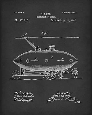 Water Vessels Drawing - Submarine By Lake 1897 Patent Art Black by Prior Art Design