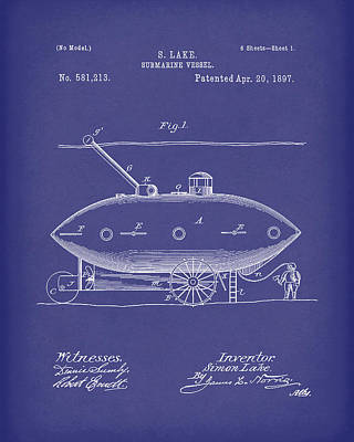Water Vessels Drawing - Submarine By Lake 1897 Patent Art Blue by Prior Art Design