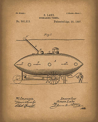 Water Vessels Drawing - Submarine By Lake 1897 Patent Art Brown by Prior Art Design