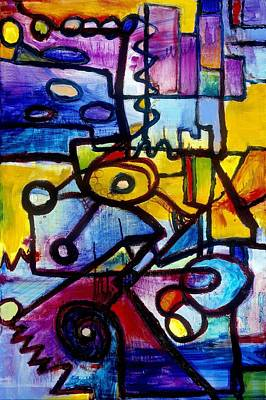 Geometric Painting - Suburbias Daily Beat by Regina Valluzzi