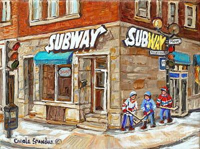 Street Hockey Painting - Subway Restaurant Monk Avenue Verdun Montreal Art Winter Hockey Scenes Paintings Carole Spandau by Carole Spandau