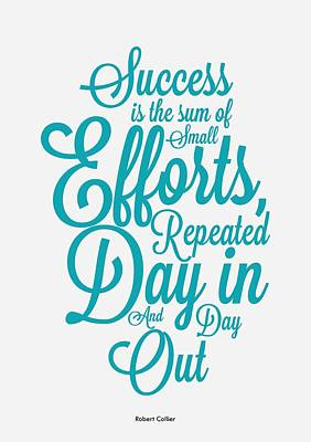 Collier Digital Art - Success Inspirational Quotes Poster by Lab No 4 - The Quotography Department