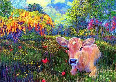 Nature Scene Painting - Such A Contented Cow by Jane Small
