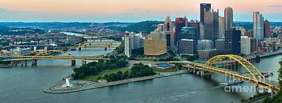 Pink Over The Pittsburgh Skyline Print by Adam Jewell