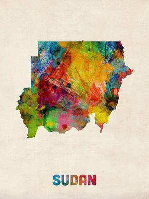 Sudan Watercolor Map Print by Michael Tompsett