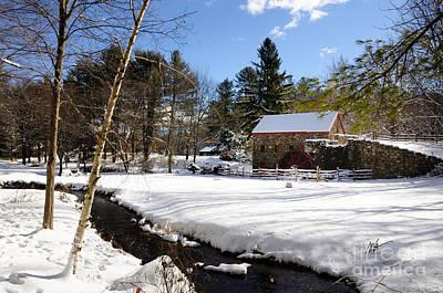 Sudbury - Grist Mill Winter Creek Print by Mark Valentine