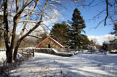 Sudbury - Grist Mill Winter Print by Mark Valentine