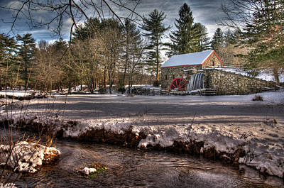 Sudbury Winter Grist Mill And River Print by Mark Valentine