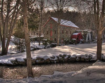 Sudbury Winter Grist Mill Print by Mark Valentine