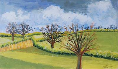 English Gouache Painting - Suffolk Spring Sky  by Joan Thewsey