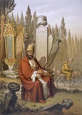 Turkey Drawing - Sufi, Playing The Ney, Sits by Jean Brindesi