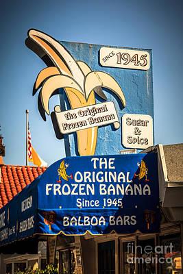 Sugar And Spice Frozen Banana Sign On Balboa Island Print by Paul Velgos