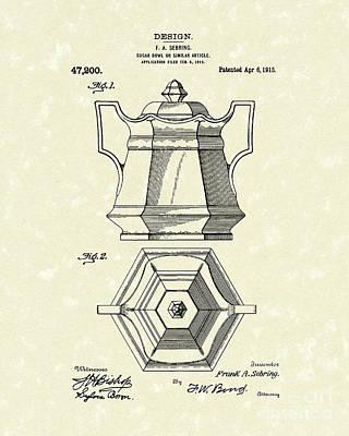 Sugar Drawing - Sugar Bowl 1915 Patent Art by Prior Art Design