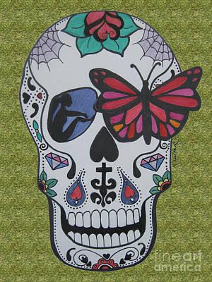 Sugar Skull Girl Drawing - Sugar Candy Skull Green by Karen Larter