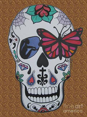 Sugar Skull Girl Drawing - Sugar Candy Skull Leopard by Karen Larter