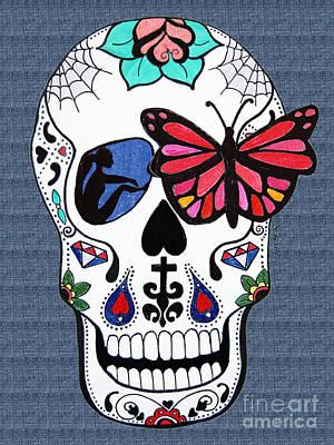 Sugar Skull Girl Drawing - Sugar Candy Skull Magic by Karen Larter