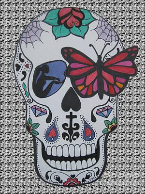 Sugar Skull Girl Drawing - Sugar Candy Skull Pattern by Karen Larter