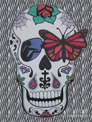 Sugar Skull Girl Drawing - Sugar Candy Skull Zebra by Karen Larter