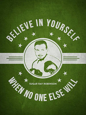Sugar Ray Robinson - Green Print by Aged Pixel